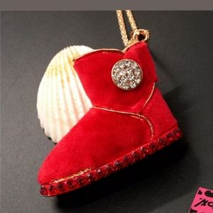 ❤👢Furry Red Crystal Ugg Boot Necklace👢❤